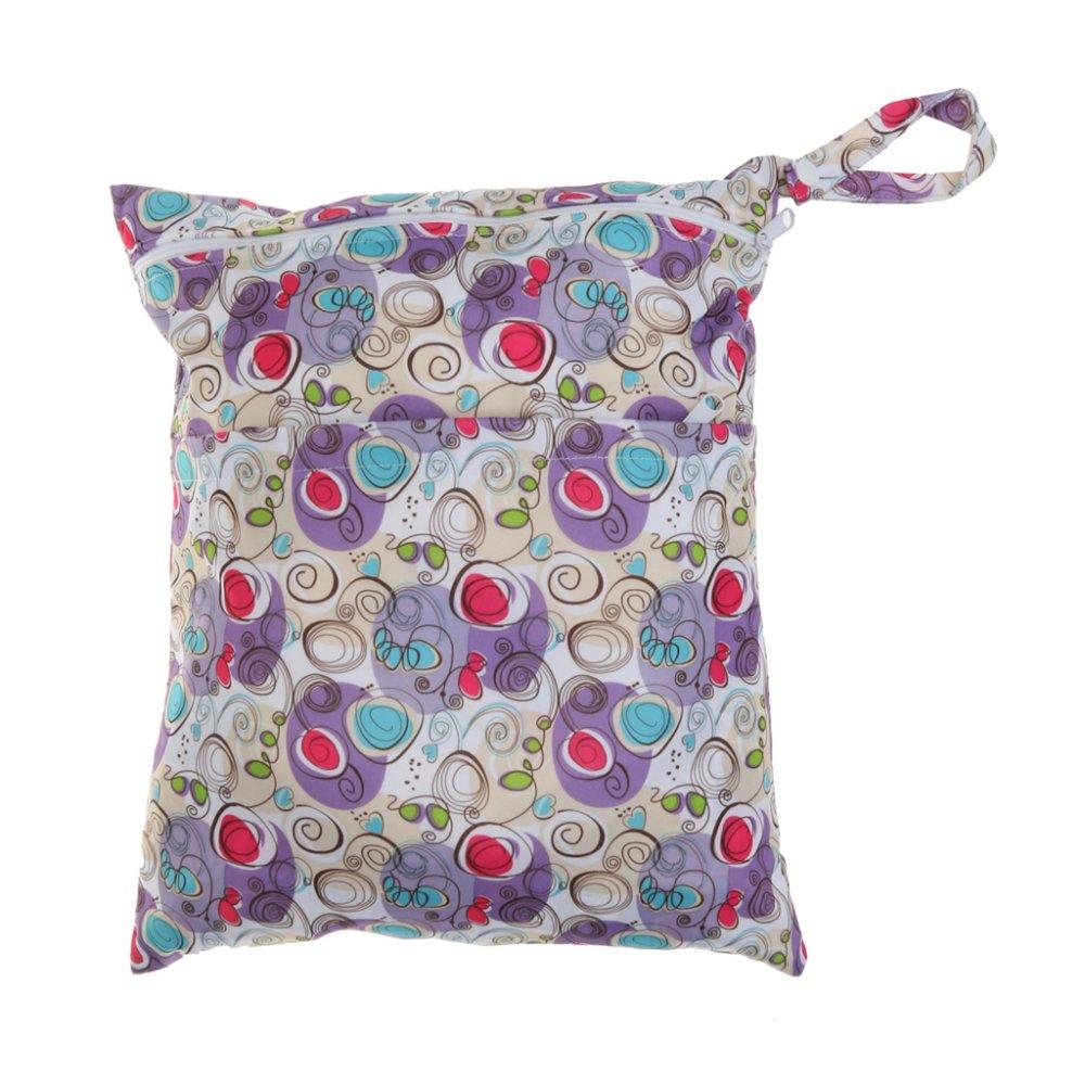 BolehDeals Waterproof Resuable Wet Dry Baby Diaper Bag Organizer Pouch Dual Zipper#10 - intl