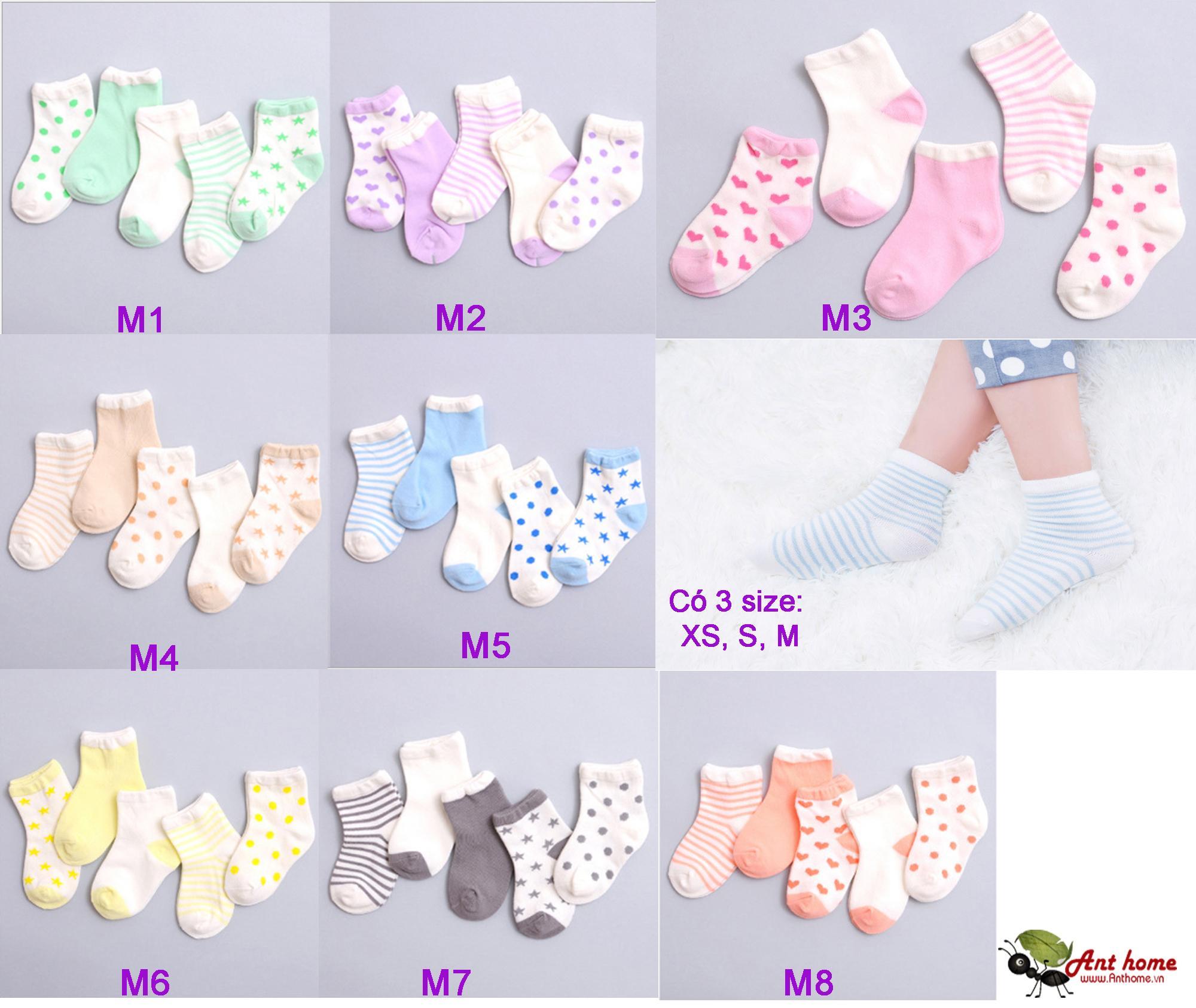 Combo 5 đôi vớ (tất) bé gái từ 0-1 tuổi size XS mẫu M2