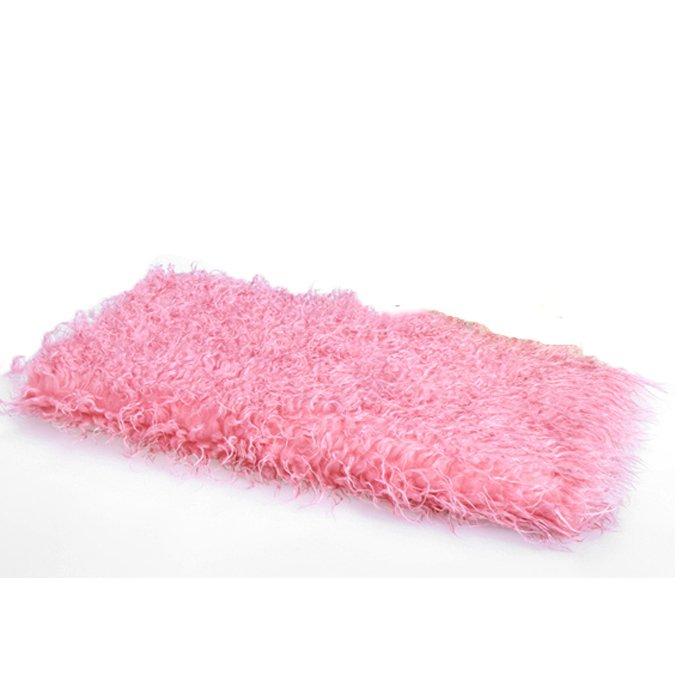Cyber Sale Baby Kids 100 x 50cm Faux Fur Blanket Basket Stuffer Photography Props Background Newborn Blanket (Pink)