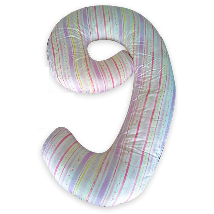 Gối ôm đa năng hình số 9 cho mẹ bầu 11 THIVI (Sọc)