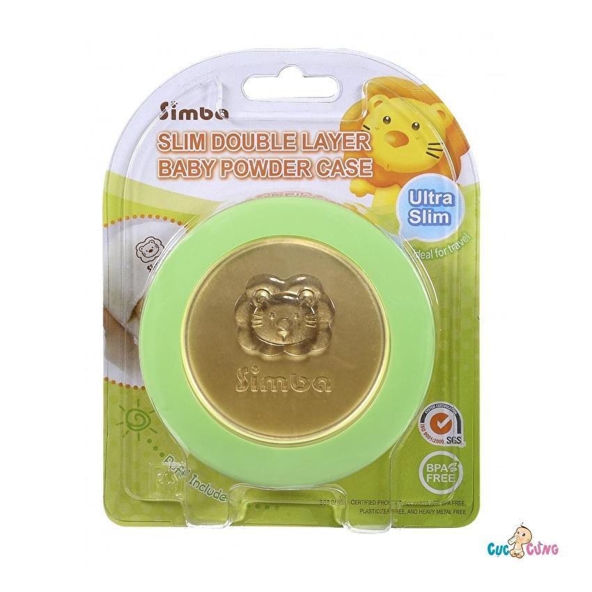 Hộp đựng phấn rôm siêu mỏng Simba 2 lớp(Xanh lá nhạt)