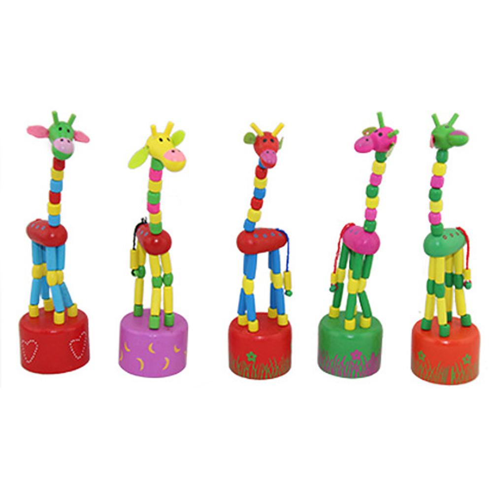 Kid Wooden Developmental Dancing Standing Rocking Giraffe Handcrafted Toy - intl