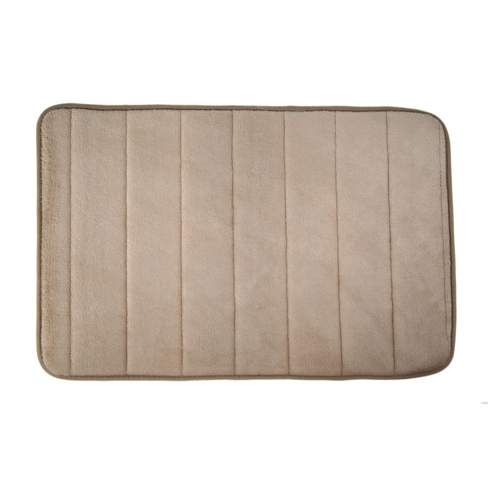 Memory Foam Bath Mats Bathroom Horizontal Stripes Rug Non-slip Camel - INTL