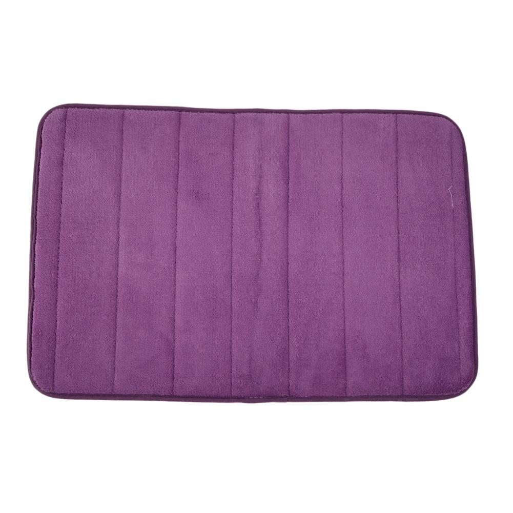 Memory Foam Bath Mats Bathroom Horizontal Stripes Rug Non-slip Purple - INTL
