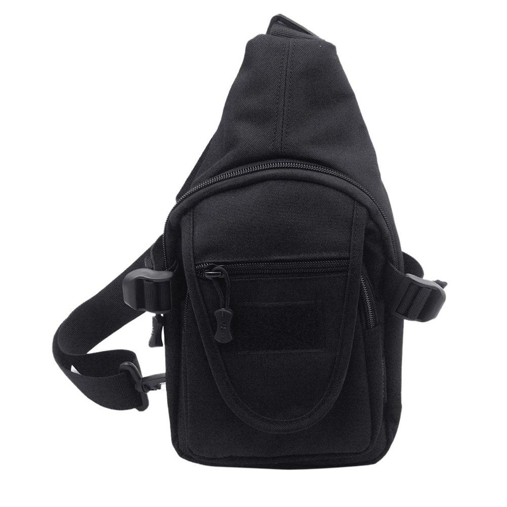 Mens Canvas Casual Sport Travel Exercise Chest Bag Shoulder Messenger Crossbody Sling Bag Satchel for Outdoors Activities Black