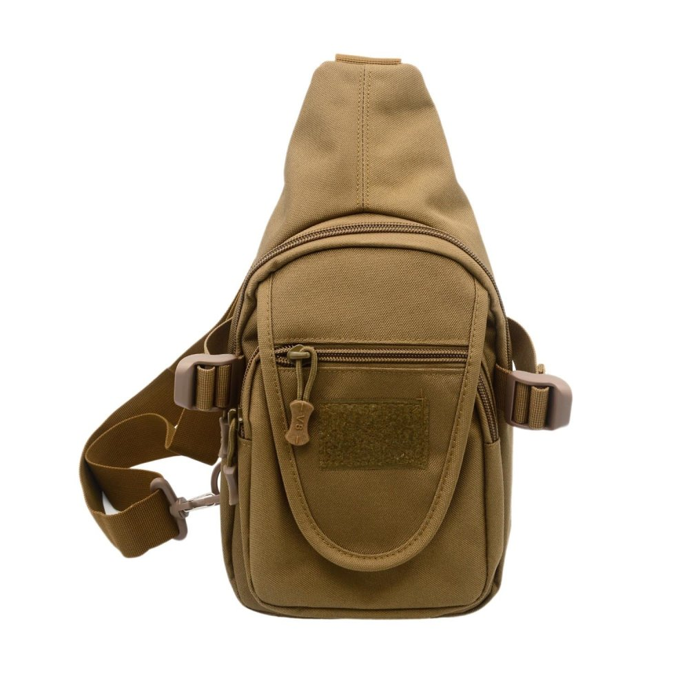 Mens Canvas Casual Sport Travel Exercise Chest Bag Shoulder Messenger Crossbody Sling Bag Satchel for Outdoors Activities Brown