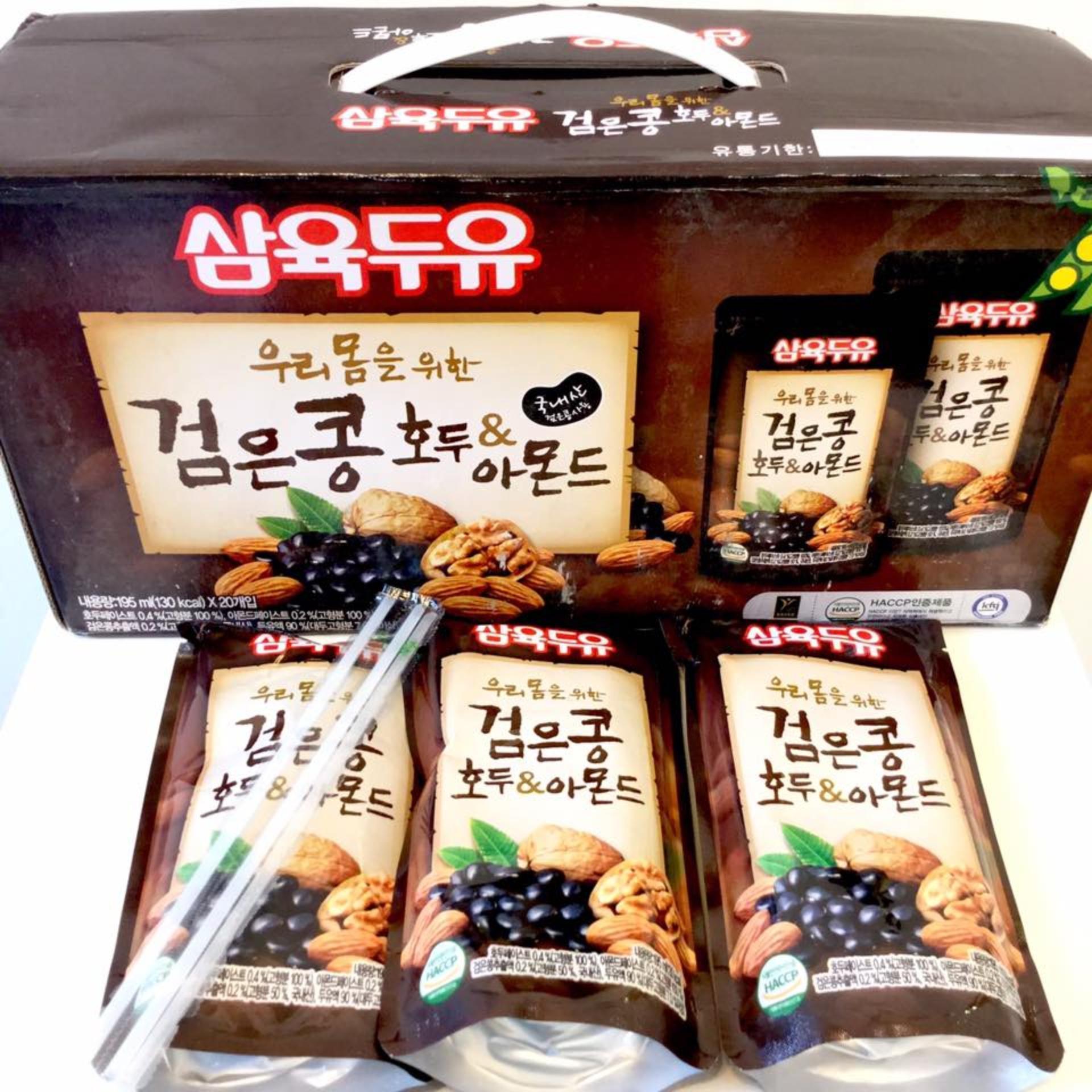 Sữa đậu đen óc chó hạnh nhân Hàn Quốc (thùng 20 bịch x 195ml)