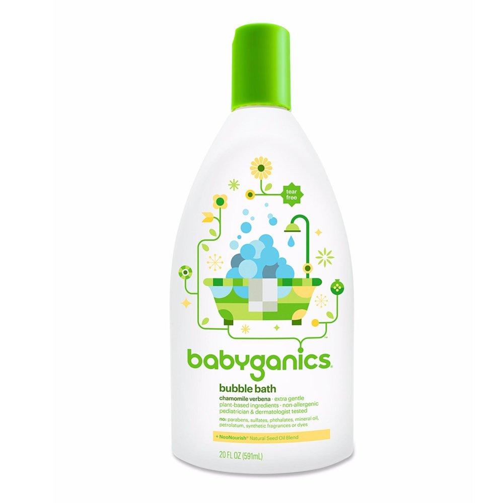 Sữa tắm tạo bọt cho trẻ em mùi hoa cúc Babyganics Baby Bubble Bath, Chamomile Verbena 591ml (Mỹ) (Trắng)
