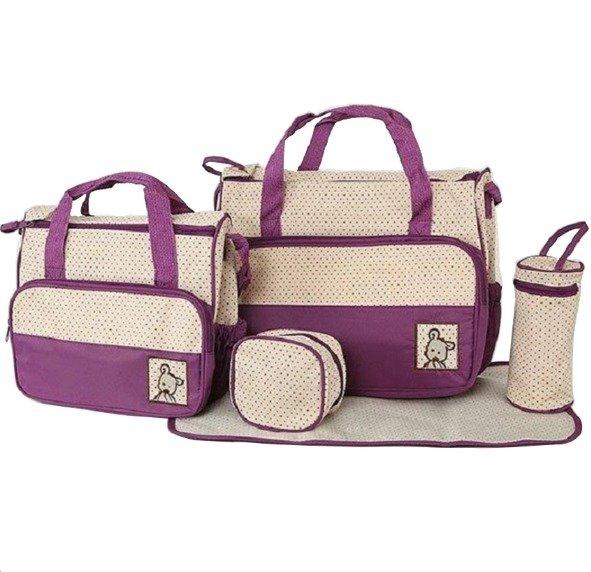 Túi đựng đồ cho mẹ và bé 5 chi tiết HD HDM269 (Tím)