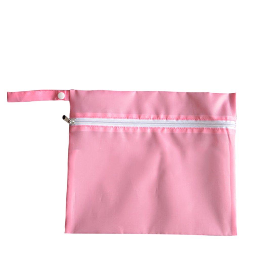 Waterproof Baby Wet Dry Dirty Cloth Diaper Nappy Pram Stroller Buggy Hanging Organizer Zipper Bag Pack Pink - intl