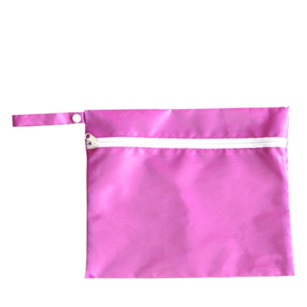 Waterproof Baby Wet Dry Dirty Cloth Diaper Nappy Pram Stroller Buggy Hanging Organizer Zipper Bag Pack Rose Red - intl