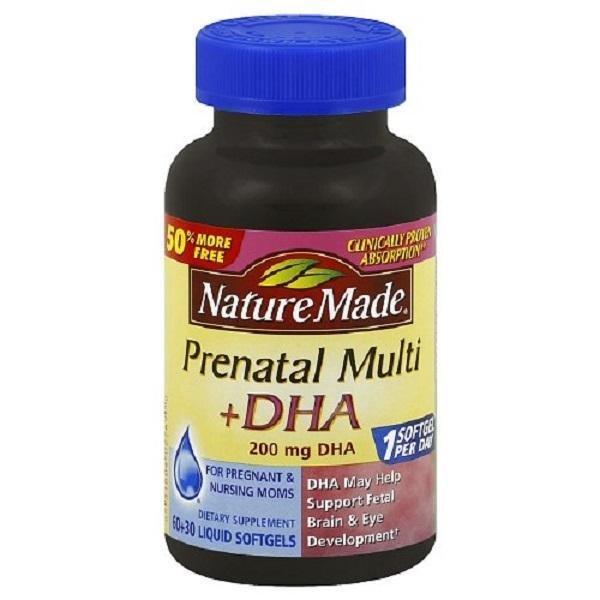 Viên uống bổ sung vitamin cho bà bầu NATURE MADE Prenatal Multi +DHA 90 viên