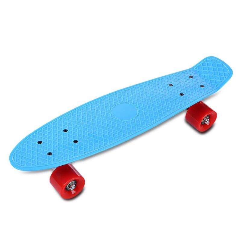 Mua 22 Inch Four-Wheel Long Skateboard Retro Style PP Board Deck (Blue Red Wheel) - intl