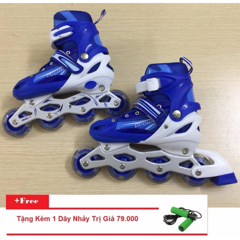 Phân phối Giày Trượt Patin Gắn Đinh Phát Sáng Toàn Bộ (Size M - Xanh Dương) + Tặng Kèm 1 Dây Nhảy