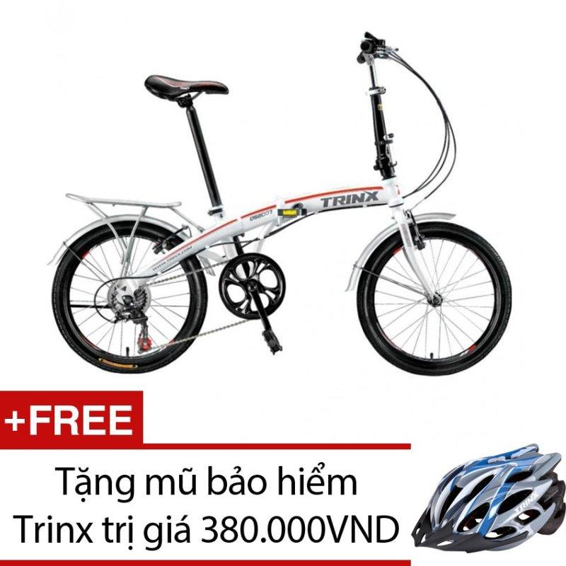 Mua Xe đạp gấp TRINX DS2007 (Trắng) + Tặng 1 mũ bảo hiểm Trinx