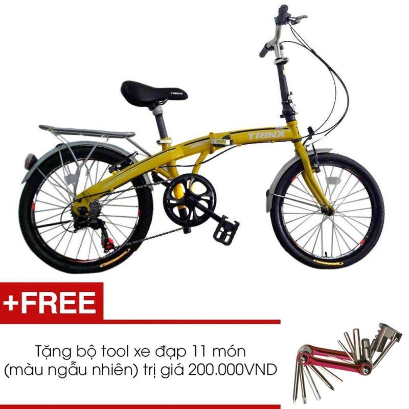 Mua Xe đạp gấp TRINX DS2007 (Vàng) + Tặng 1 bộ Tool xe đạp 11 món màu sắc ngẫu nhiên