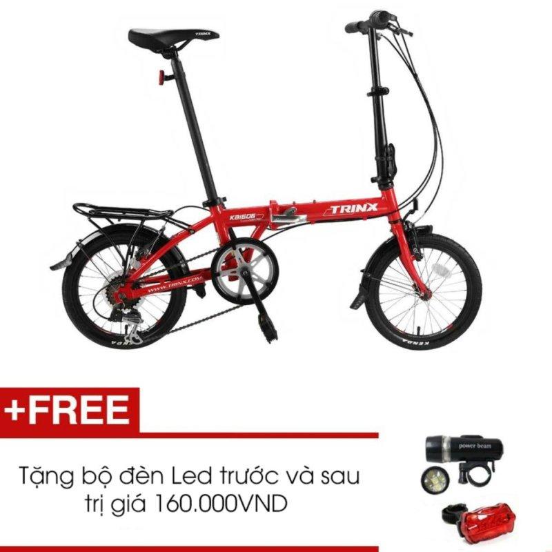 Phân phối Xe đạp gấp TRINX KA1606 (đỏ) + Tặng 1 bộ đèn Led trước và sau