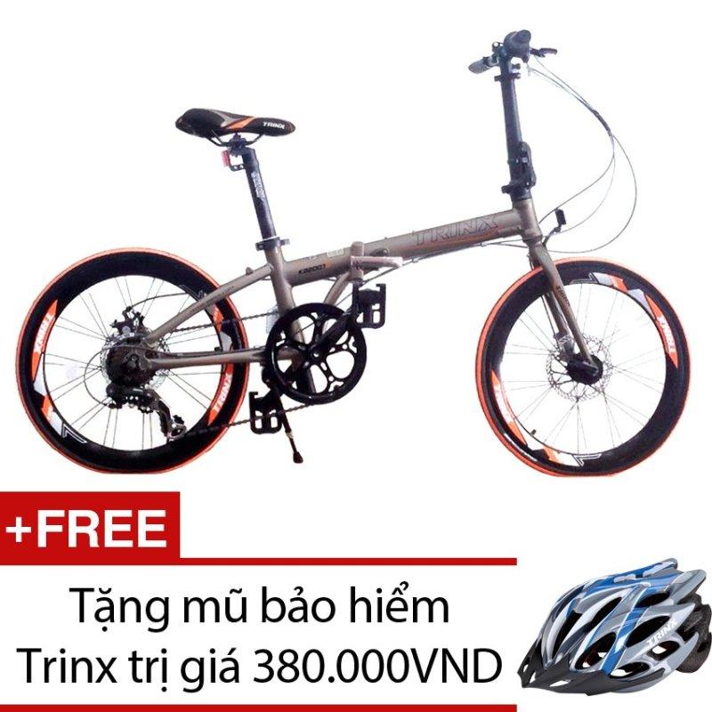 Mua Xe đạp gấp TRINX KA2007D (Đồng) + Tặng 1 mũ bảo hiểm Trinx