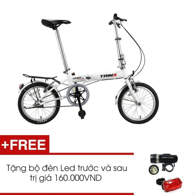Mua Xe đạp gấp TRINX KS1601 (Trắng) + Tặng 1 bộ đèn Led trước và sau