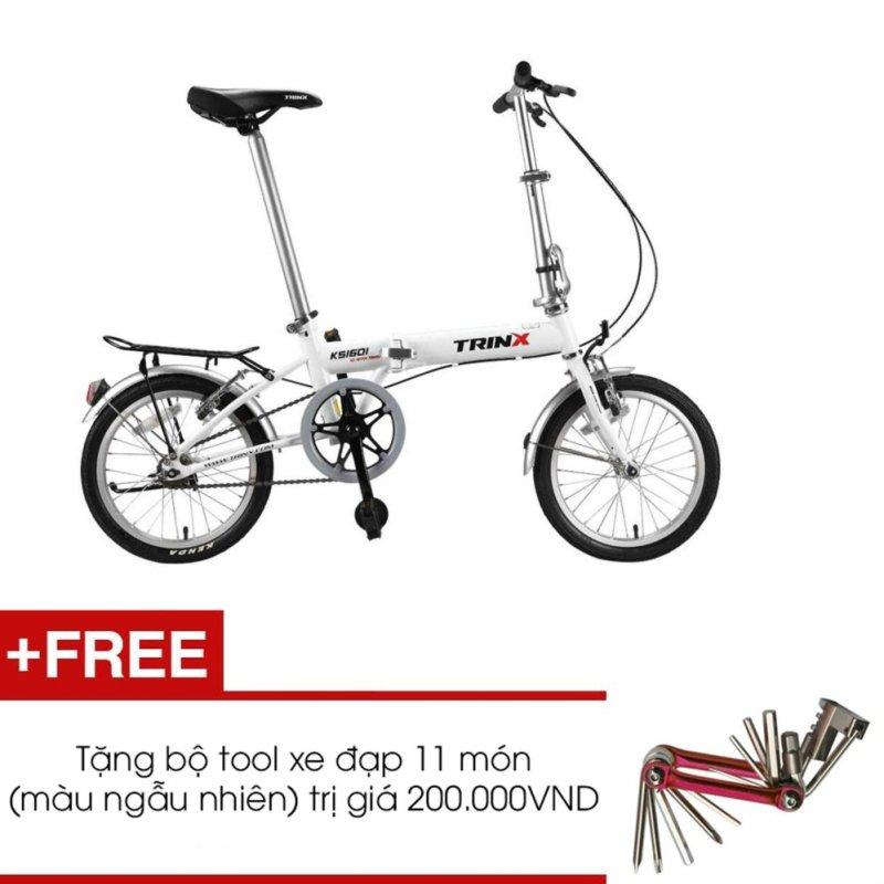 Phân phối Xe đạp gấp TRINX KS1601 (Trắng) + Tặng 1 bộ Tool xe đạp 11 món màu sắc ngẫu nhiên