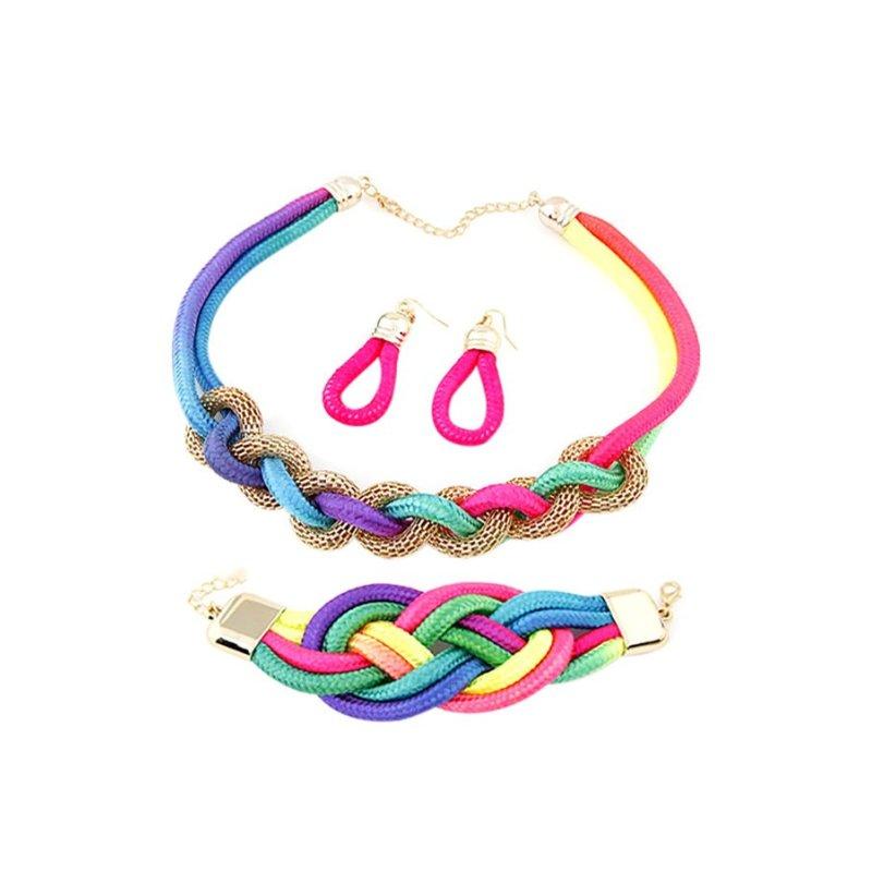 Bộ vòng cổ + vòng tay + bông tai dây vải Chiclala Accessories