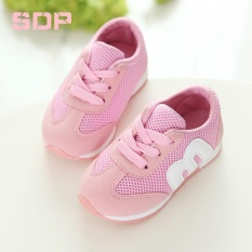 Classic Design Childrens M Shoes Alphabet Mesh Casual Running Kids Shoes Sports Non-slip Fashion Sneakers for Girls Boys (EU SIZE 21-30/Pink) - intl