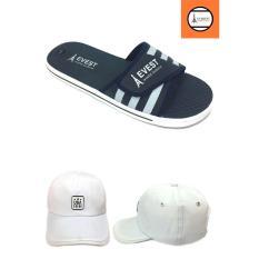 Combo giày dép quai ngang nam + nón chữ USA trắng GN3A201