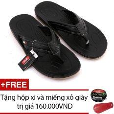 Dép kẹp nam da thật Da Giày Việt Nam VNLLD0AZA031QD (Đen) + Tặng hộp xi và miếng xỏ giày