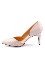 Giày bít hở hông phối kim sa Senta CGH18 (Kem)