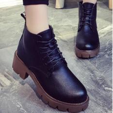 Giày boot nữ cổ thấp gót vuông dây buộc cá tính Doni86 BT233D (Đen)