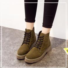 Giày boot nữ da nhung cột dây MSP 2796 (Nâu rêu)