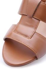 Giày cao gót ba dây bản lớn Senta SD3D (Kem)