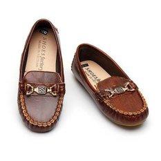 Giày lười da cho bé Thanhcongmart (Nâu đậm)