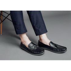 Giày lười nam đai ngang thắt chuông ( đen )