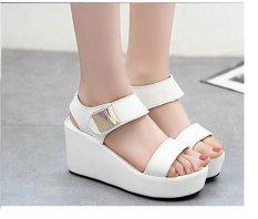 Giày sandal xuồng 7 phân quai ngang kim loại (Trắng)