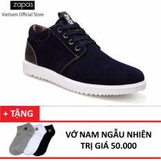 Giày Sneaker Da Lộn Zapas - GS040 (Xanh ) + Tặng Vớ Nam
