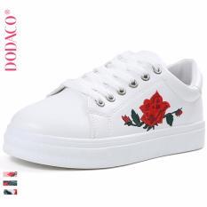 Giày Sneaker Nữ Thêu Hoa Thời Trang DODACO DDC1849 (Trắng)