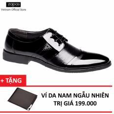 Giày Tây Nam Da Cột Dây Zapas GT018 (Đen) + Tặng Ví Nam