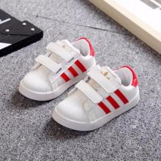 Giày thể thao trắng sọc đỏ mẫu mới cho bé