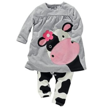 BEINGQ 2Pcs Baby Kids Girls Boys Milk Cow Long Sleeve Tops+Pants Outfits Sleepwear - Intl