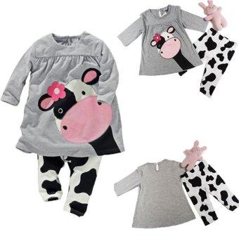 Bộ đồ ngủ áo tay dài họa tiết bò sữa kèm quần BeingQ dành cho bé gái