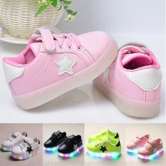 Moonar Fashion Kids Boys Girls Star Pattern LED Luminous Sneakers Light Up Flashing Running Shoes Size 21-30 (Pink) - intl