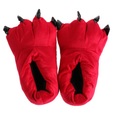 Plush Slippers Animal Paw Indoor Slippers Red (Intl)