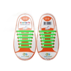Set of 12pcs Children No Tie Silicone Elastic Shoelace Sneaker Shoe Laces (Green) - Intl