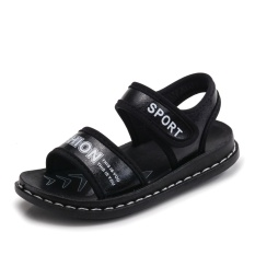 Victory New boy Super fiber Flat Sandals Beach shoes fashion Childrens shoes (Black) - intl