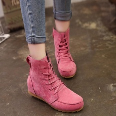 Women Flat Ankle Snow Motorcycle Boots Female Suede Leather Lace-Up Boot Hot/35 - intl