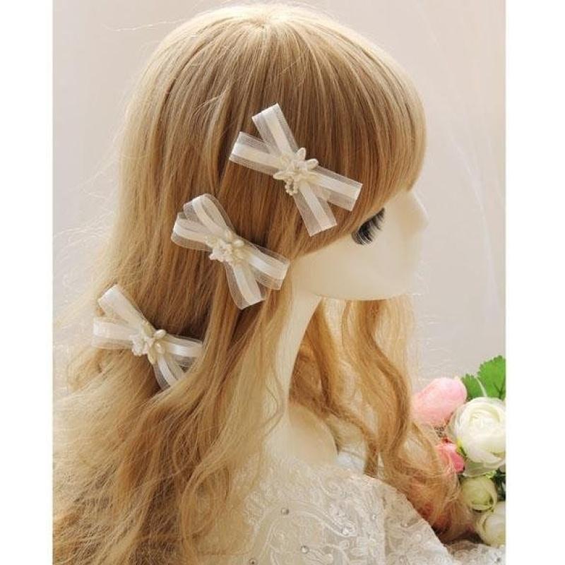 4PCS Fashion Pearl Wedding Bridal Hair Clip White Wedding Dress Accesory - intl