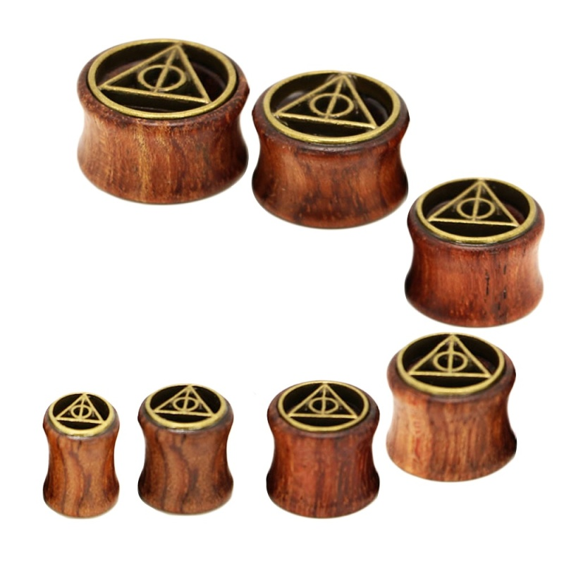 7 PCS 7 Sizes Vintage Wood Triangle Style Ear Tunnels Plugs Expander Stretcher Body Piercing Jewelry - intl