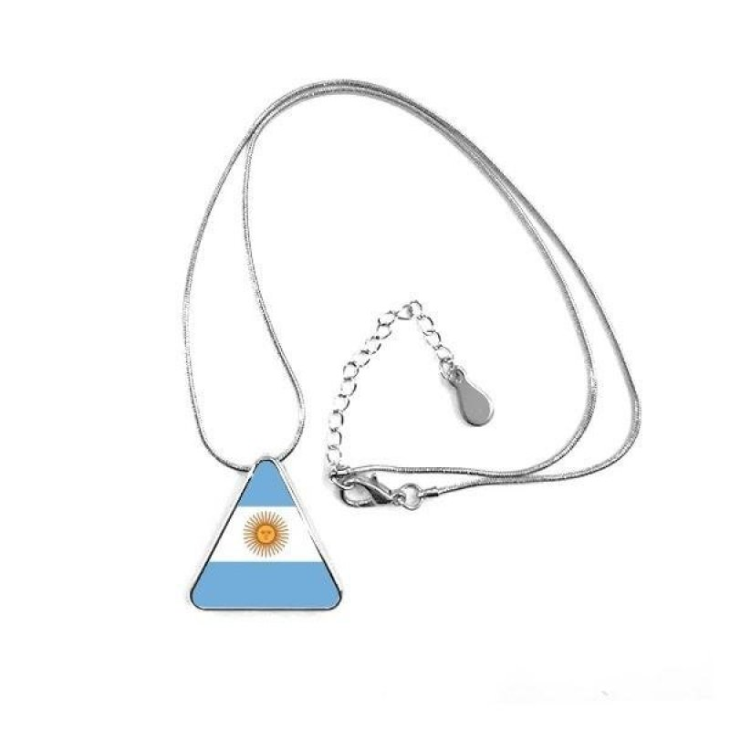 Argentina National Flag South America Country Symbol Mark Pattern Triangle Shape Pendant Necklace - intl