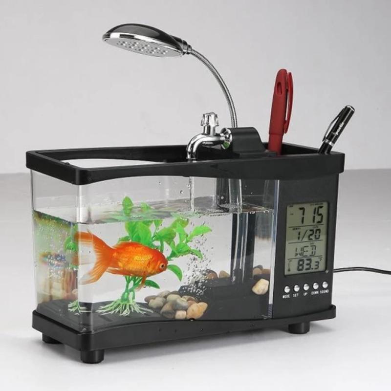 Mua Bể cá mini kiêm đồng hồ để bàn (đen)